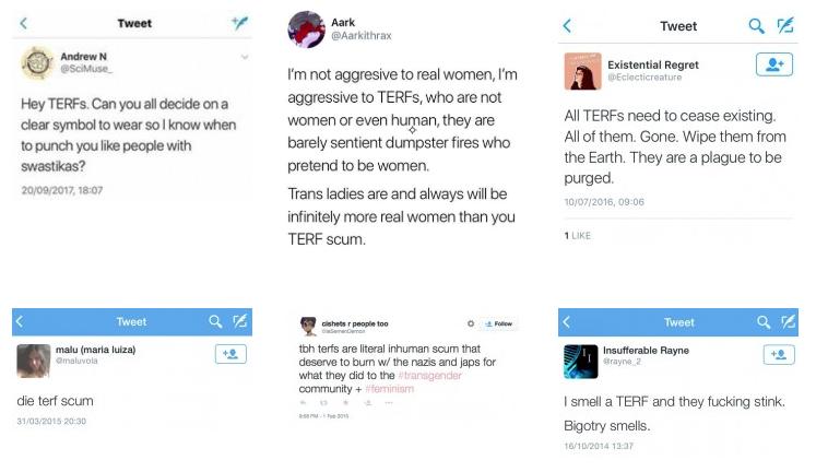 Na imagem, transativistas ofendem mulheres com insultos e as ameaçam de violência.